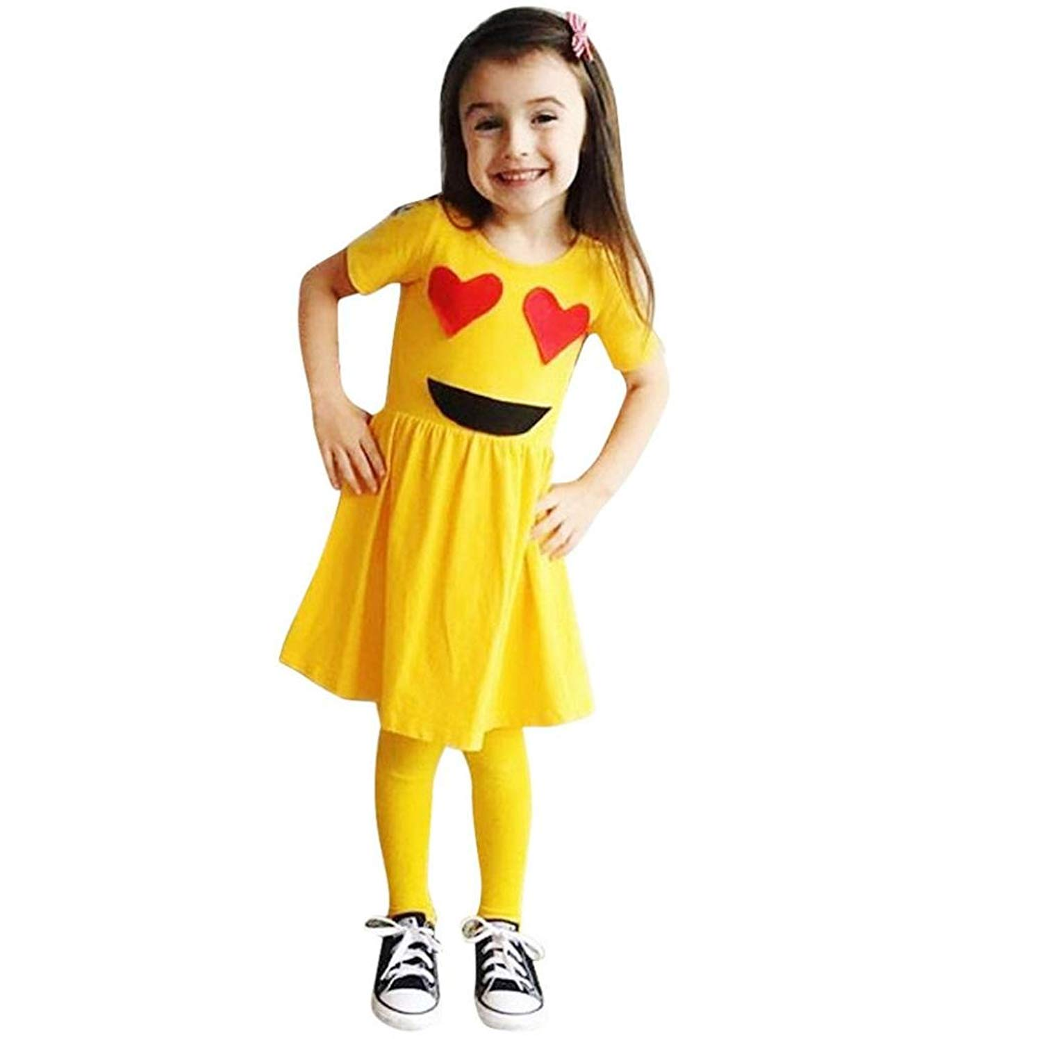 Dainzuy Infant Baby Girls Short Sleeve Expression Smiley Emoji Dresses Outfits