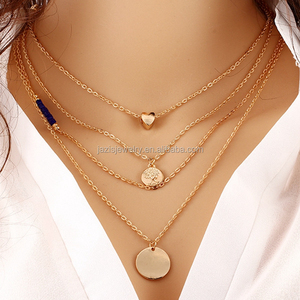 Stylish alloy chain Sequins Coin Multilayer necklace Women Jewelry