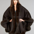 pure cashmere pashmina scarf,cashmere shawl for lady solid color with fox fur trim