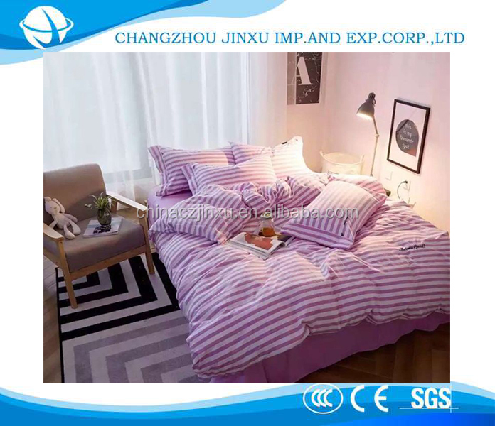 Simple stripe embroidered washable close-skin 100% cotton bedding set