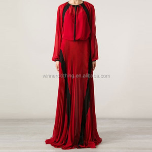 New drawstring neck long sleeve red black contrast floor length chiffon maxi dress