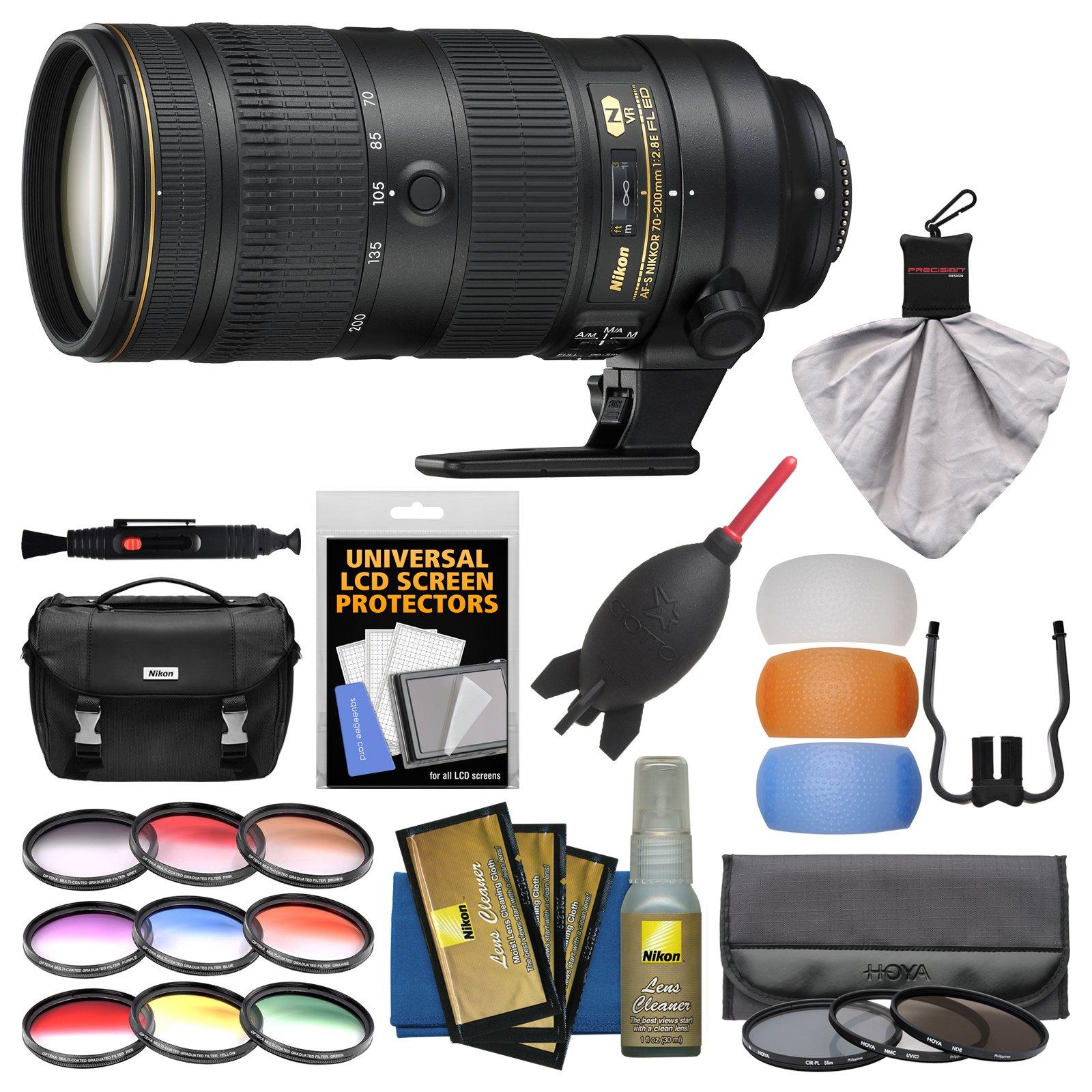 Nikon 70-200mm f/2.8E FL VR AF-S ED Zoom-Nikkor Lens with Case + 3 UV/CPL/ND8 Hoya & 9 Color Filters + Kit