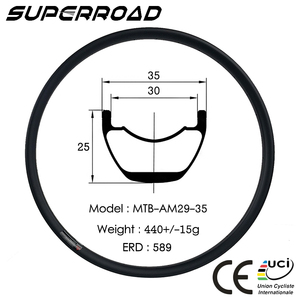 29er MTB 35mm Wide 25mm Deep XC/AM/DH Tubeless Carbon Bike Bicycle Rims 29 32H