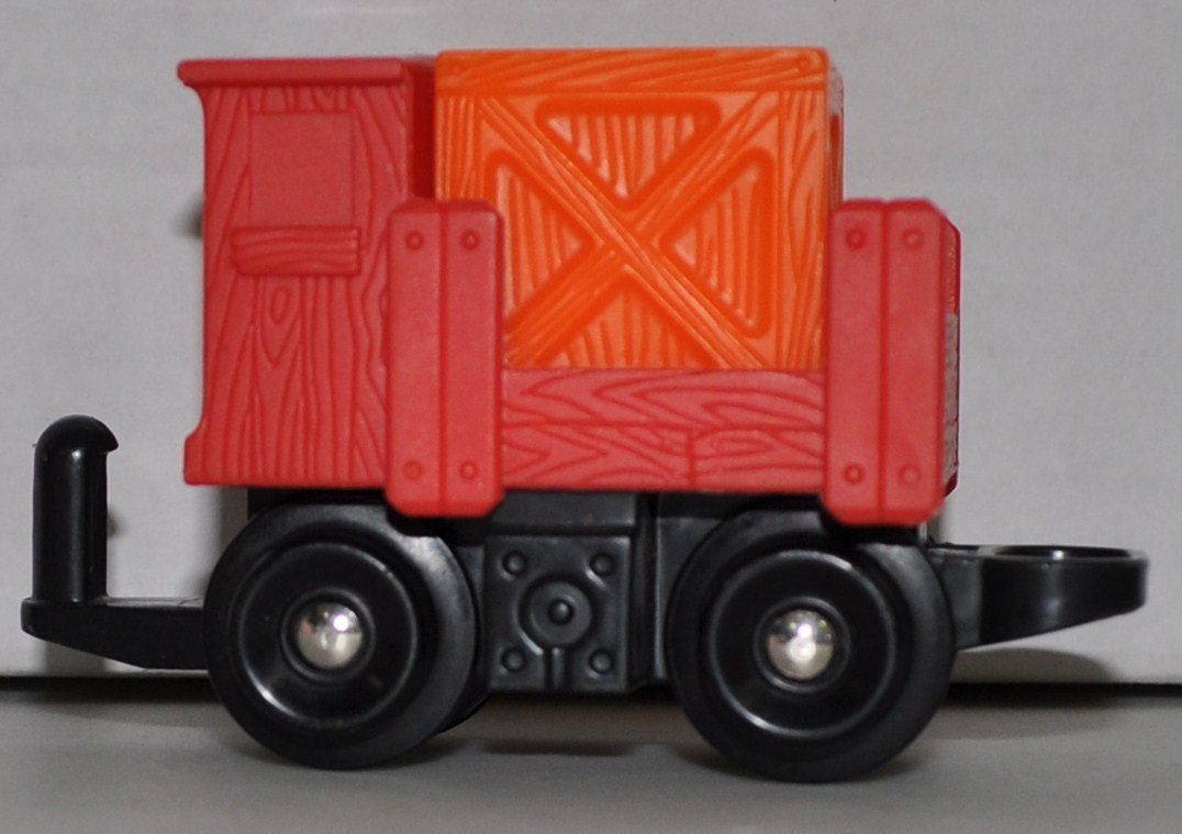 GeoTrax Red Load Car with Orange Box - Replacement Piece - Classic Fisher Price Geo Trax Collectible - Loose Out Of Package (OOP) Engine Cars Track Transportation Tracks