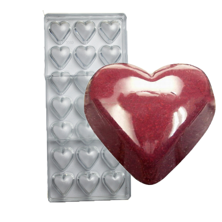 Clear Loving Heart Shaped Shape PC Food Candy Polycarbonate Chocolate Mold Mould   Tray Pudding Plastic DIY Tools