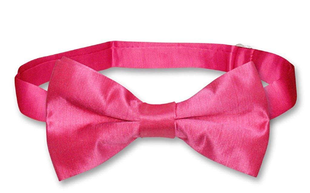 e986b451c95b Get Quotations · Biagio BAMBOO SILK BOWTIE Solid HOT PINK FUCHSIA Men's Bow  Tie for Tuxedo Suit