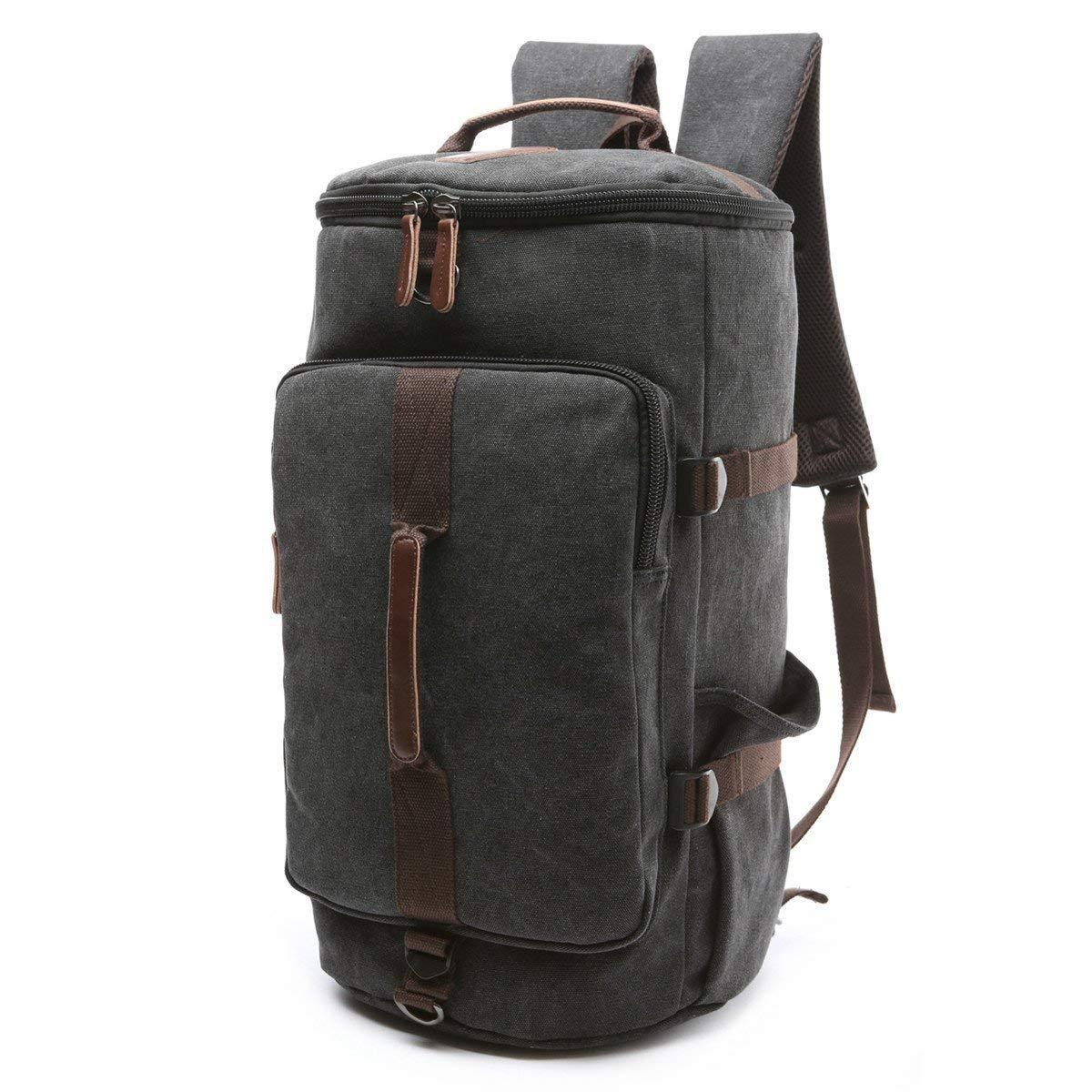 BAOSHA HB-26 3-Ways Vintage Canvas Men Holdall Weekend Travel Duffel Bag Backpack Messenger Shoulder Bags Convertible Travel Hiking Rucksack Weekender Overnight Bag Handbag (Black)