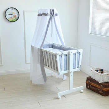 Solid wood baby cradle wooden swing baby crib white color crib