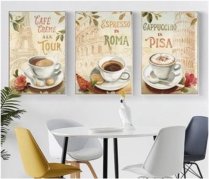 3 piece gallery wrapped stretched canvas print set with artist grade cotton canvas for coffee bar