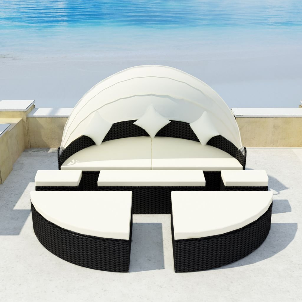 Gracelove Patio Outdoor Rattan & Wicker 2-in-1 Sofa Sunbed Round Retractable Canopy Daybed