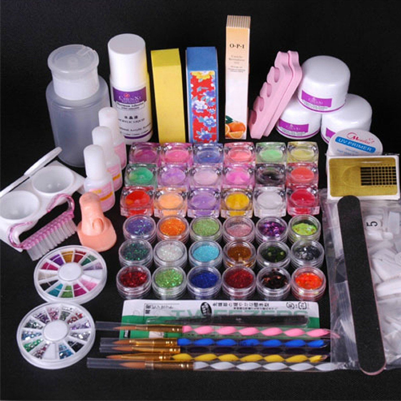 Buy 350buy 36 Acrylic Powder Liquid Kits Primer Uv Nail Art Tip Set