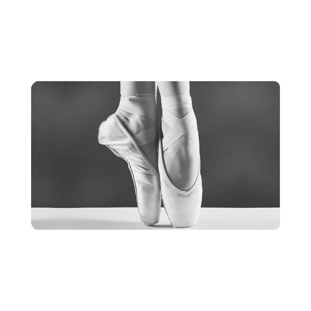 """InterestPrint Elegant Ballet Shoes Ballerinas Pointes Doormat Indoor Outdoor Entrance Rug Floor Mats Shoe Scraper Door Mat Non-Slip Home Decor, Rubber Backing Large 30""""(L) x 18""""(W)"""