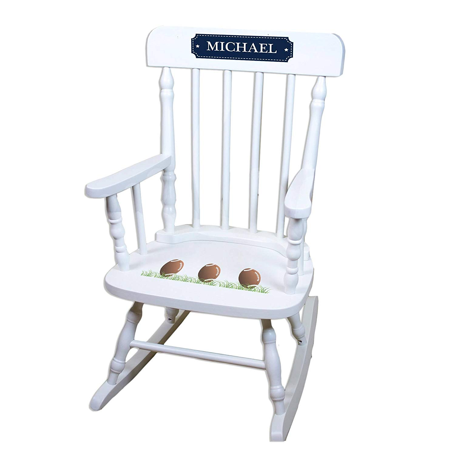 MyBambino Personalized Footballs White Wooden Childrens Rocking Chair