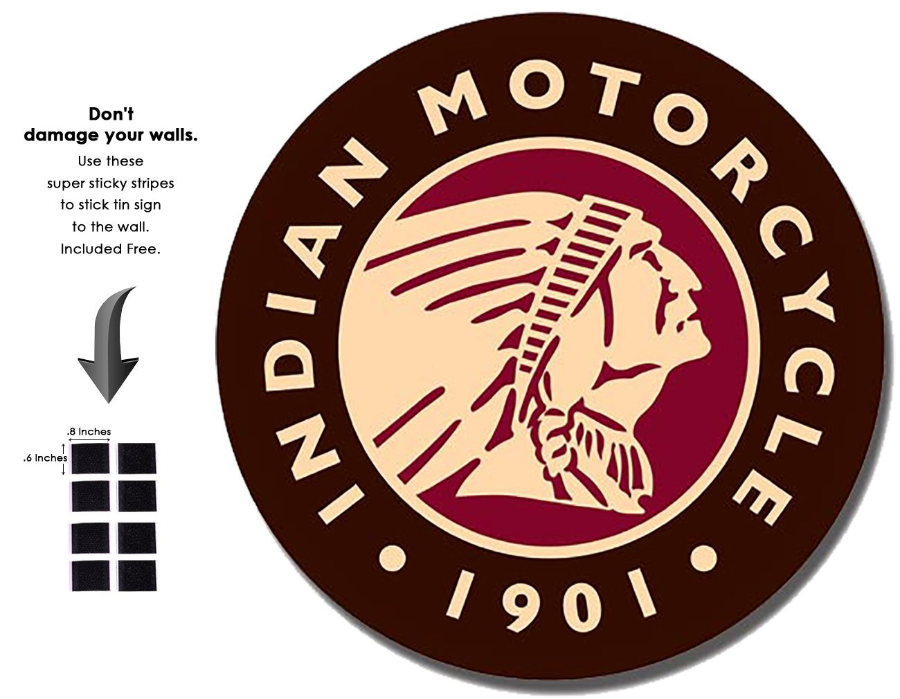 Shop72 - Indian Logo Round - Indian Motorcycle 1901 Tin Sign Bikes Tin Sign Retro Vintage Distrssed - With Sticky Stripes No Damage to Walls