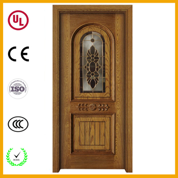 Cheap French Wooden Entry Door Oval Decorative Insulated Glass Door
