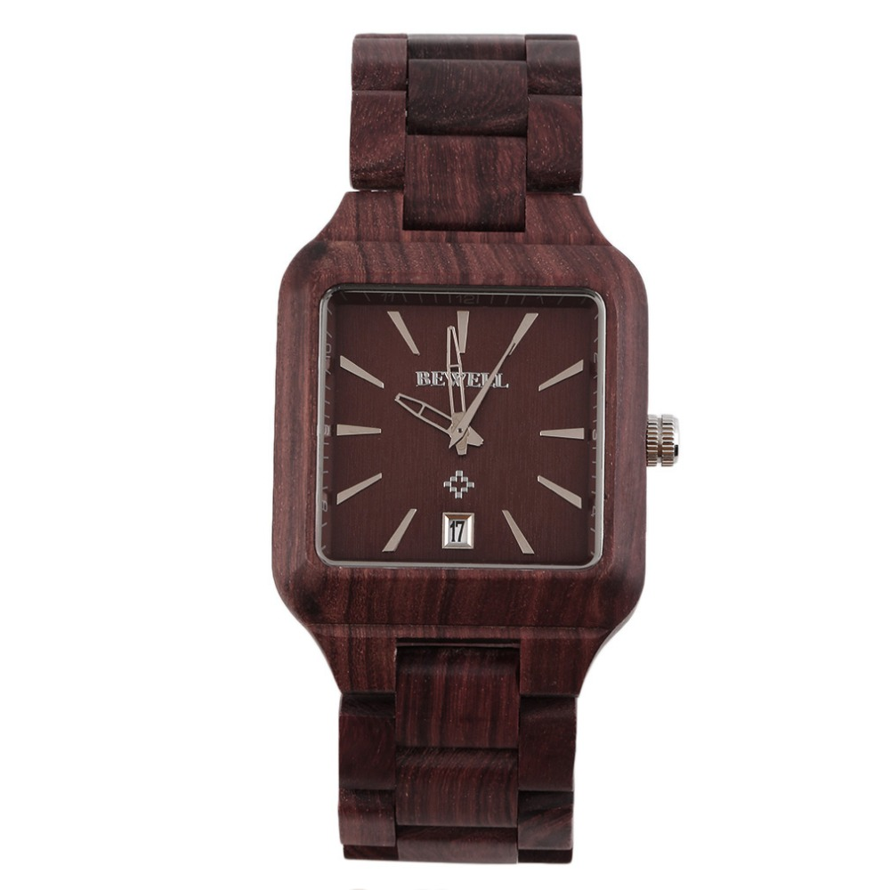 New BEWELL Cool Men Natural Wooden Quartz Watch Aquare Shape Wristwatch Hot