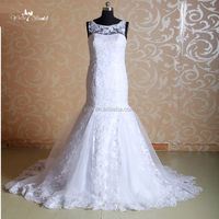 J--0057 beauty straight dress lace sleeveless embroidered African wedding dress