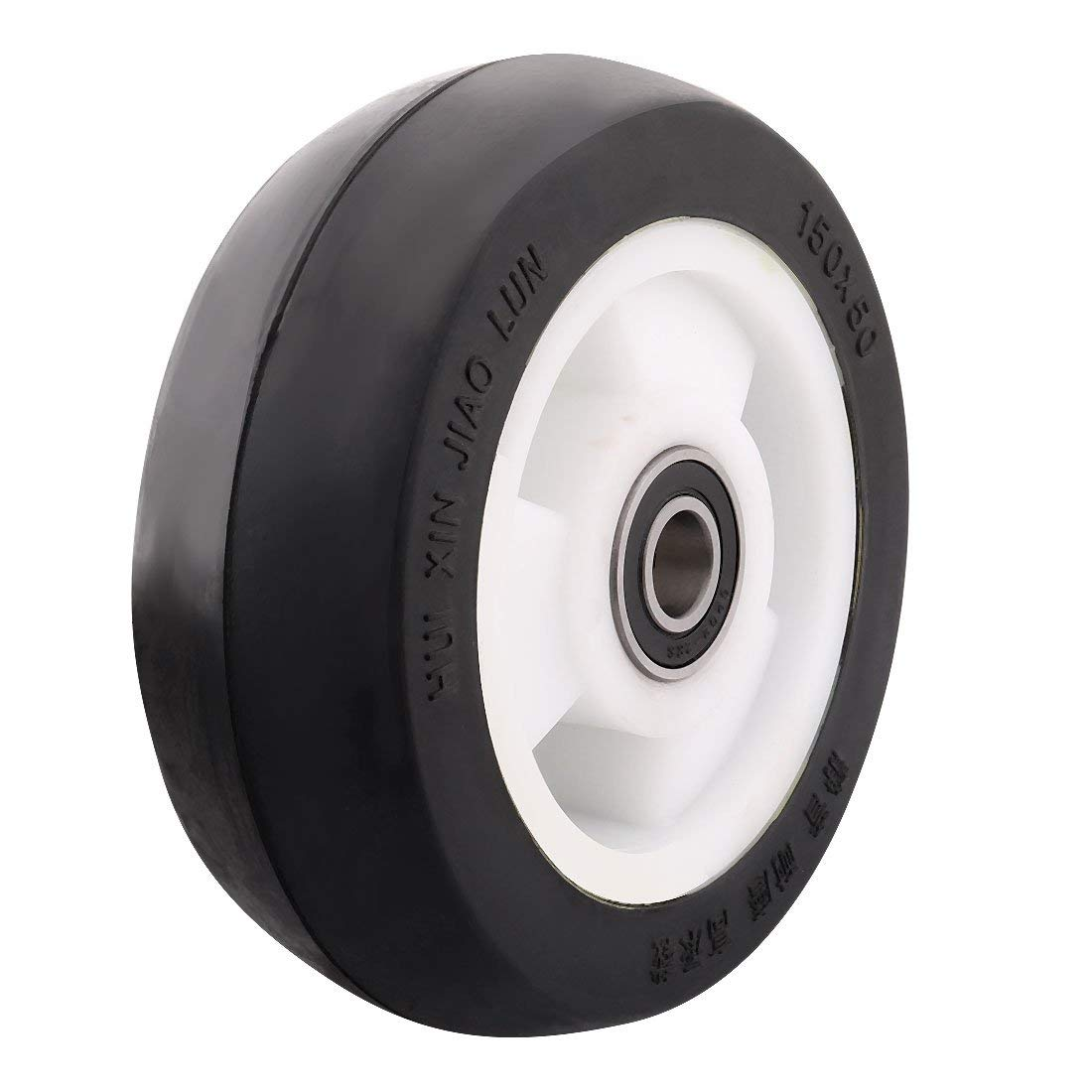"uxcell 6"" Rubber Wheel for Casters Wheel with Bushing, Bearing and Plastic Washer, Not to Hurt the Ground, Heavy Home Factory Shopping Cart Hand Trolley Replacement"