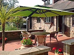 Outdoor Patio Cantilever Umbrella - SUMMER from Poggesi - 11'6 Square - Aluminum Frame (White) with Square Base and (4) concrete weights - 100% Acrylic Canvas (CUSTOM)