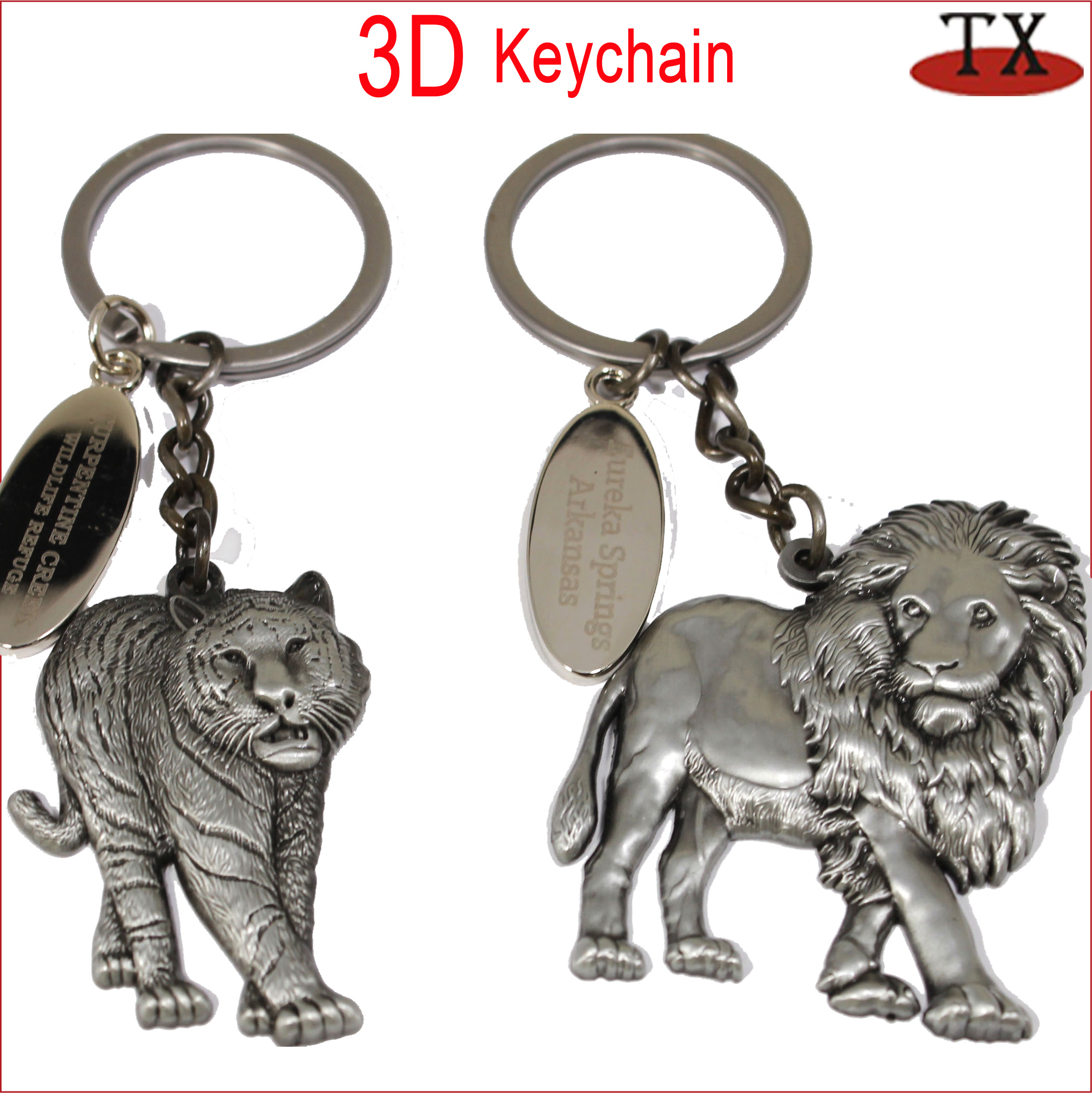 Lion Animals Metal Keyring 003