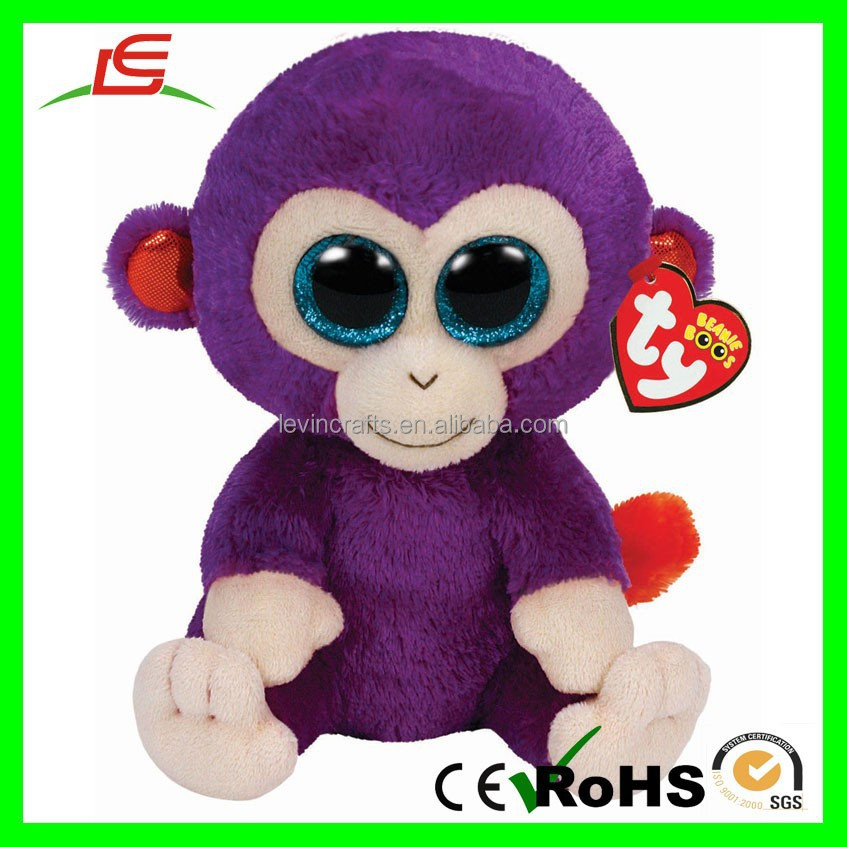 "Purple 6"" Beanie Animal Stuffed TY Plush Monkey Toy"