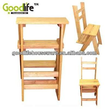 Practical Furniture Small Solid Wooden Folding Step Ladder