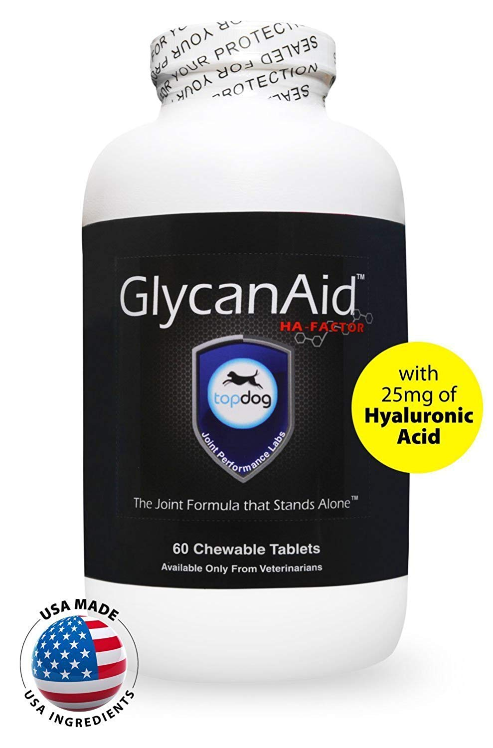 TopDog Health GlycanAid-HA Advanced Joint Supplement for Dogs (60 Chewable Tablets) - Made in USA with USA Ingredients - Contains Glucosamine HCL, Chondroitin Sulfate, Hyaluronic Acid, MSM, Cetyl-M