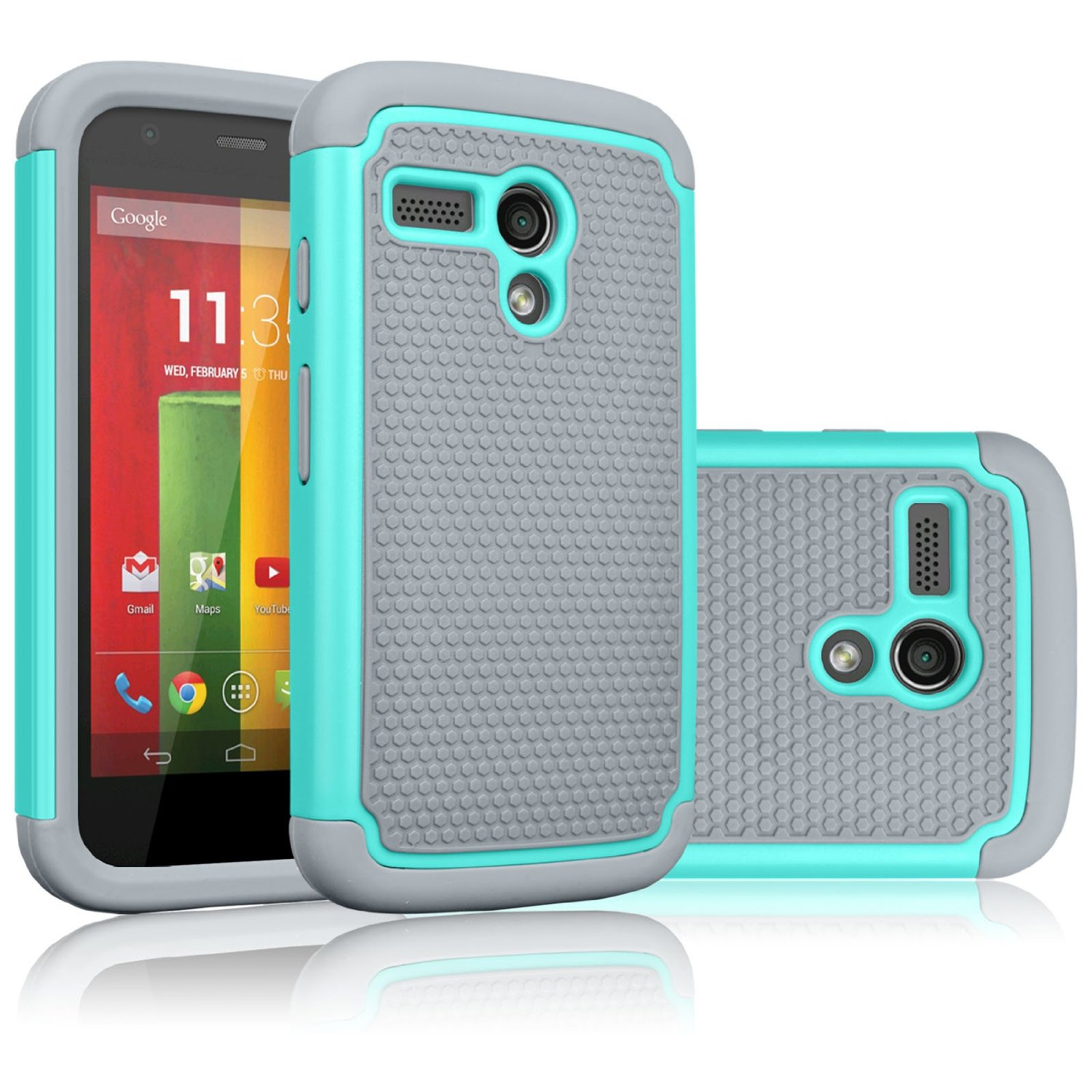 Motorola Moto G Case, Moto G 1st Gen Case, Tekcoo(TM) [Tmajor Series] Shock Absorbing Hybrid Rubber Plastic Impact Defender Rugged Slim Hard Case Cover For Moto G 3G / 4G LTE (Turquoise / Grey)