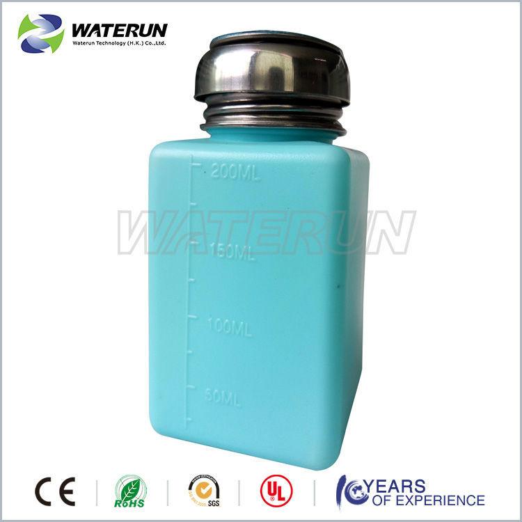 Green Liquid Push Esd Plastic Alcohol Dispenser Bottle