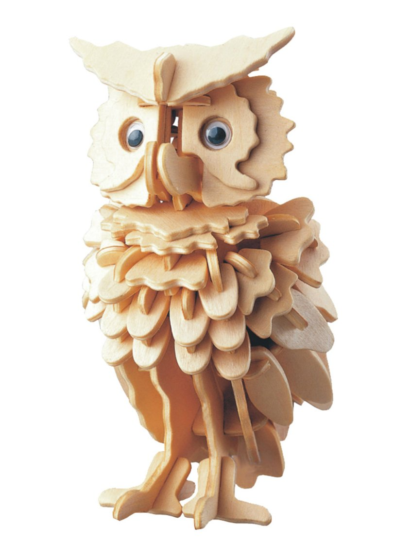 Greencherry 3D DIY Wooden Puzzled Owl Jigsaw Three Demension Simulation Model Intelligence Development Toy Gift for Kids and Adults