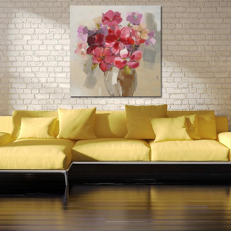Pintado A Mano Lienzo Pintura Al Oleo Abstracta Enorme Modernflower