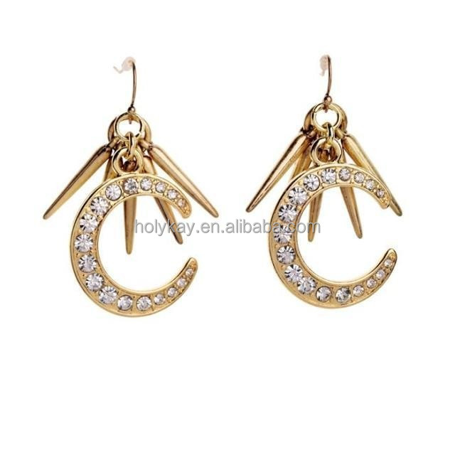 Eye-catching crescent shape crystal earrings for women, Trendy lady adorn drop earrings