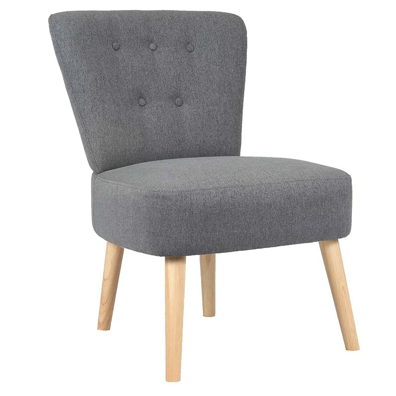 Woven fabric side accent chair with KD wooden legs
