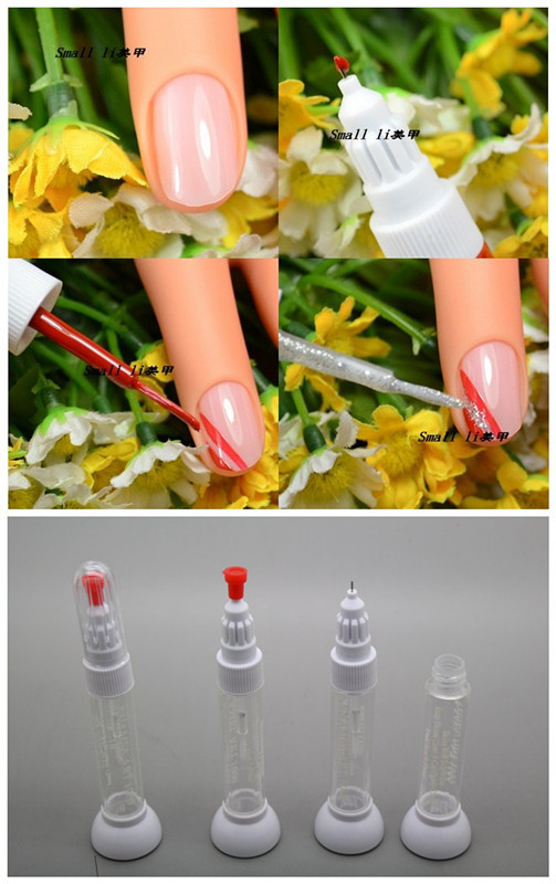 Free Shipping Dotted Pen Drawing Pen Nail Art Tool 2 IN 1 Needle Brush Dual use