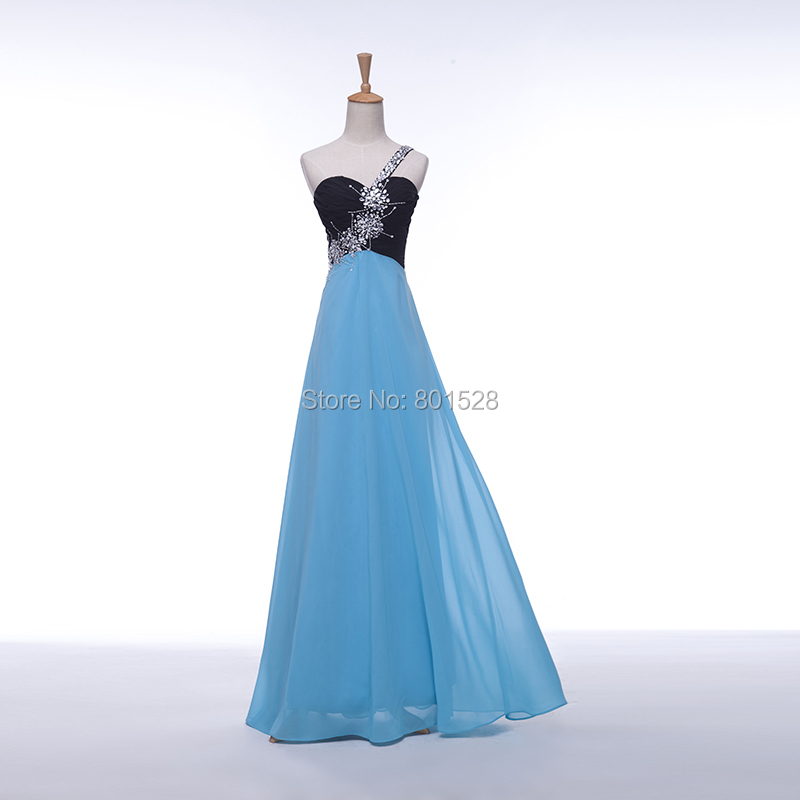 Elegant Cheap One Shoulder Beaded Black Blue Chiffon Long Prom Dresses Gown 2015 Formal Evening Party Dress Gown Fashion Custom