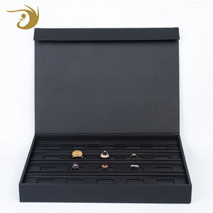 Different Design Low Price High Quality Leather Black Empty Jewelry Ring Display Box