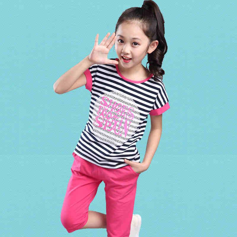 2016 summer children sets sports uniform striped short sleeved girls sets for big kids clothing girl