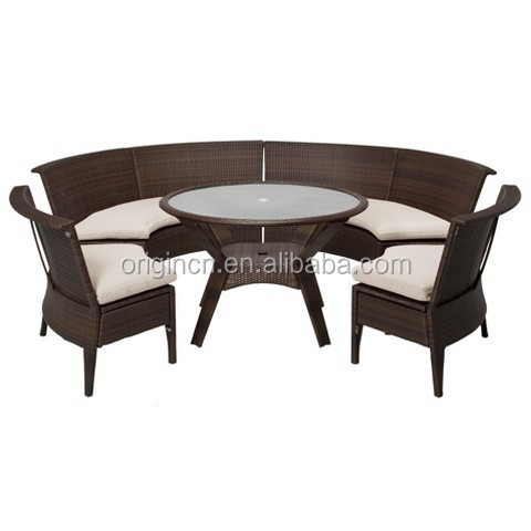 semi circle sectional 6 seater armless chairs dining set rattan garden furniture - Rattan Garden Furniture 6 Seater