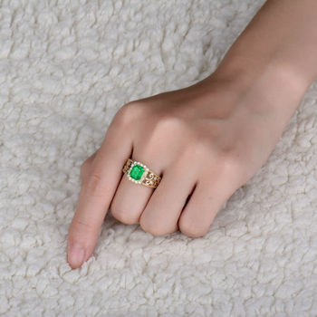 Hot Gold Ring Designs For Men Emerald Cut 6x8mm Natural Emerald