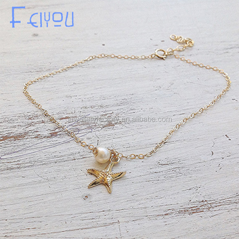 Vintage Fashion Imitation Pearl Starfish Anklets For Women Chain Ankle Bracelet Leg Bracelet New Foot Jewelry