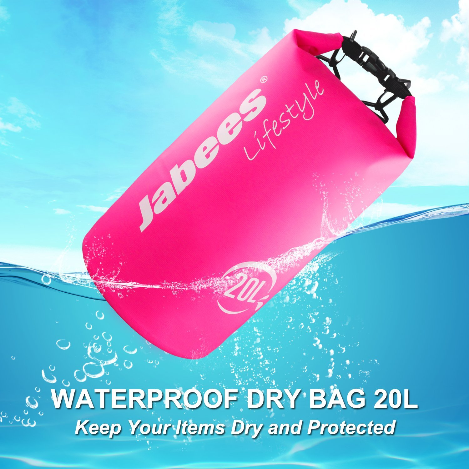 Get Quotations · Jabees Waterproof Dry Bag 20L – Roll Top Dry Sack – Duffel  Bag – Keeps Gear 116d39c9c93a3
