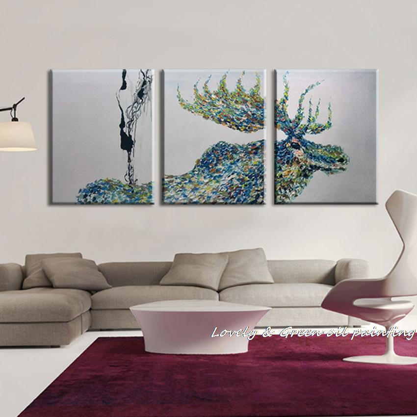100 handpainted 3 panel modern decorative painting moose oil painting on canvas wall art for. Black Bedroom Furniture Sets. Home Design Ideas