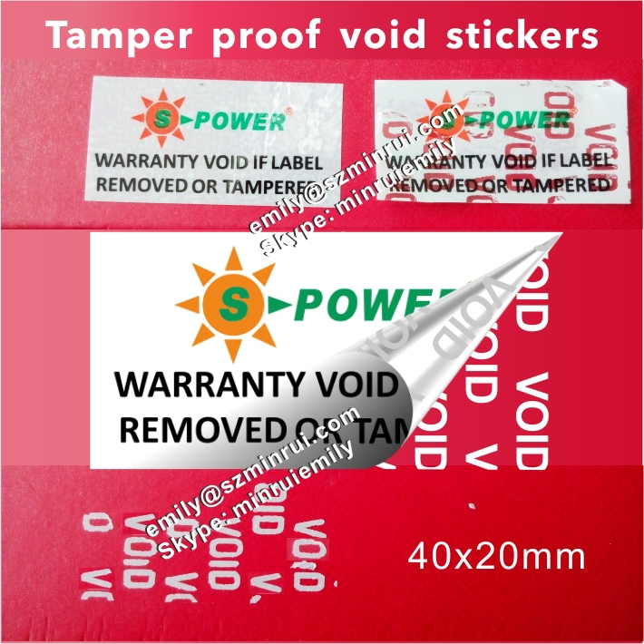 Custom logo and company name printed warranty void stickers security tamper evident label seal for