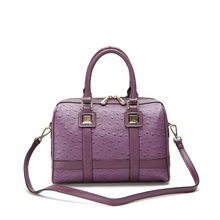 CLASSICAL!Ostrich grain boston bag fancy ladies side bags price, list branded handbags