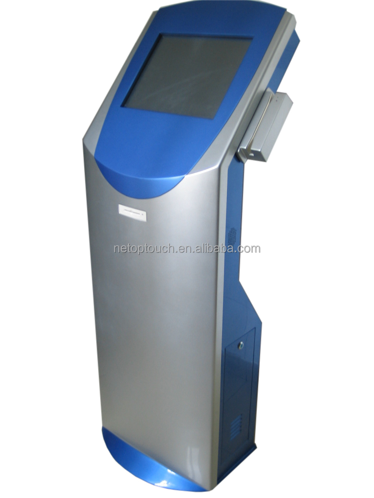 Touch screen interactive kiosk with magnetic strip card