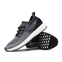 new fashion breathable mesh upper material soft elastic band sport shoes casual cool zapatillas men shoes and  running sneakers