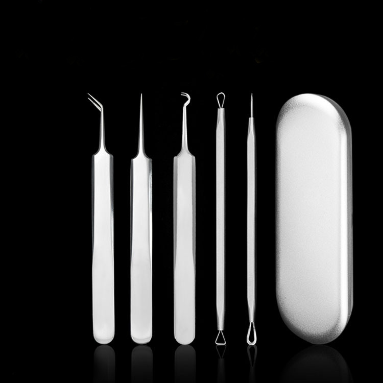 High Quality Cosmetic Tools Set 5 in1 Stainless Steel Acne Blackhead Extractor Remover Needle