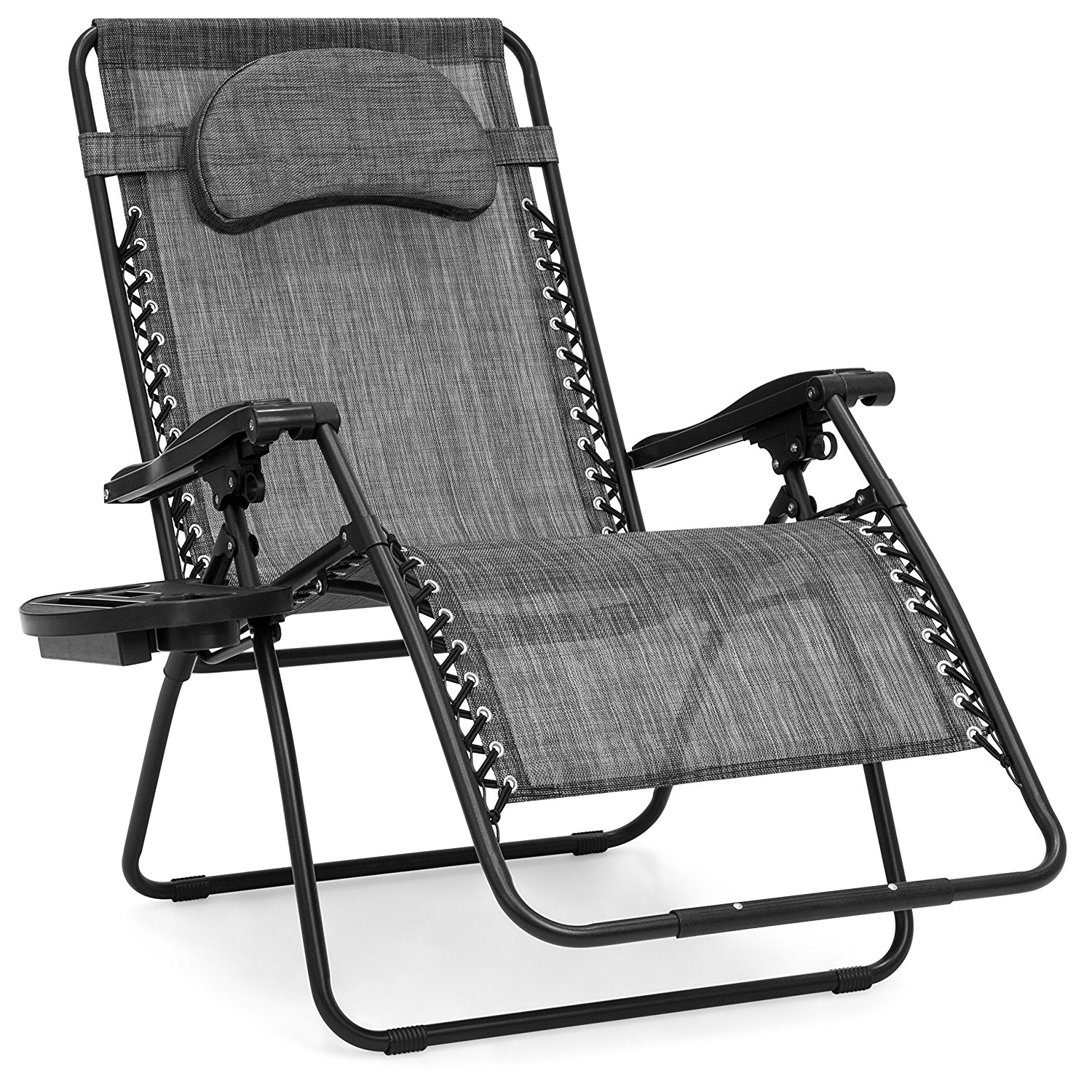 Outdoor Double Folding Bigger Recliner Zero Gravity Chair Extra Wider Size Sun Lounger with Pillow