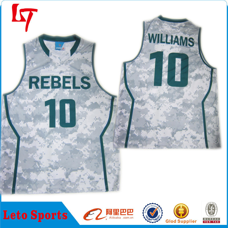 Dry fit fabric team wear basketball uniform logo design Custom camo ncaa basketball jersey