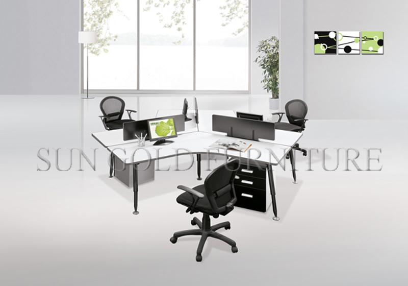 Moderne blanc haute qualité acier jambes courbe bureau poste de